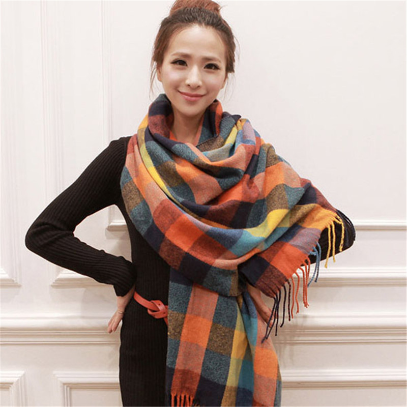 2019 Plaid Winter Scarf Women Neck Head Scarves Fashion Casual Scarfs Cashmere Ladies Shawls And Wraps Bufandas Hombre