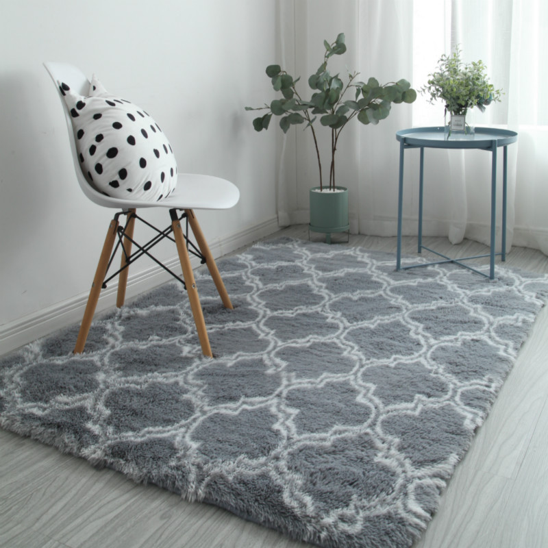 Modern Plush Big Floor Carpet For Living Room 160x230 Furry Mat Pink Black Grey Hairy Bed Rug Shaggy Alfombra De Pasillo Larga
