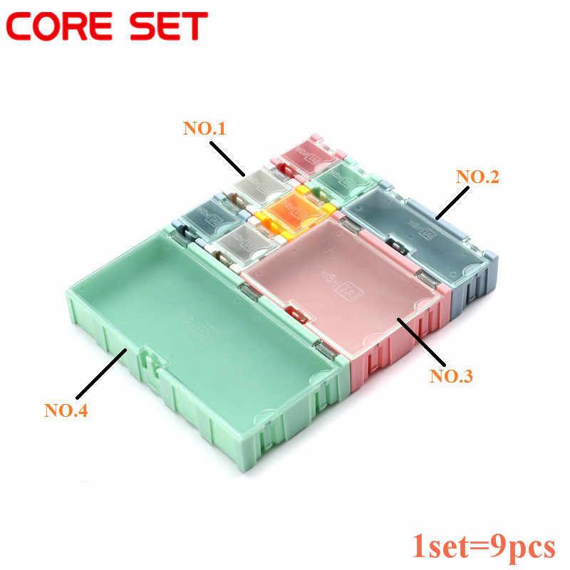 1 ชุด = 9 pcs SMD SMT กล่องเครื่องมือ IC ส่วนประกอบอิเล็กทรอนิกส์ชุดมินิกล่องและปฏิบัติเครื่องประดับ Storaged กรณีชุดสารพัน