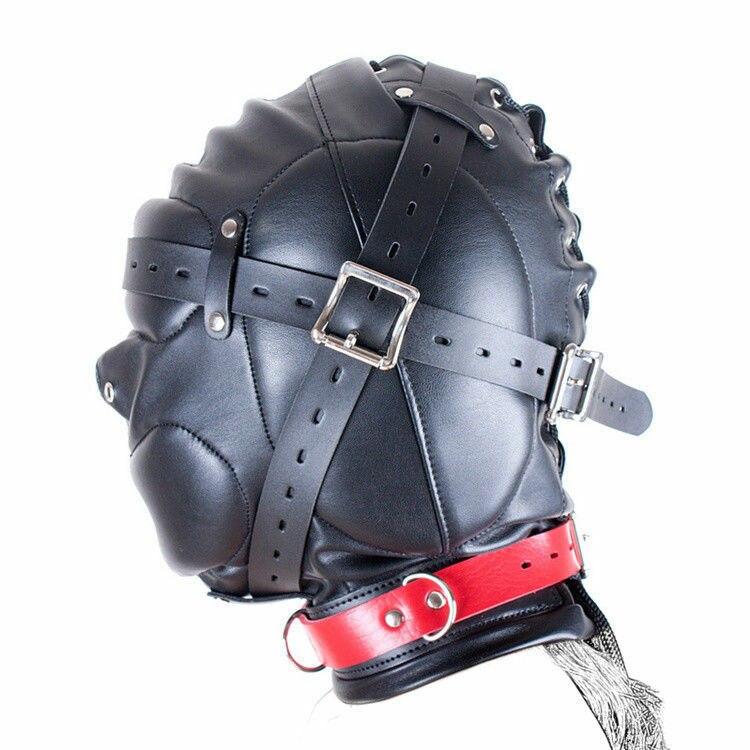 Leather Mask Hood Sensory Deprivation Gimp Bandage Mouth Lockable Party Masquerade Halloween Mardi Gras Alien Super Hero