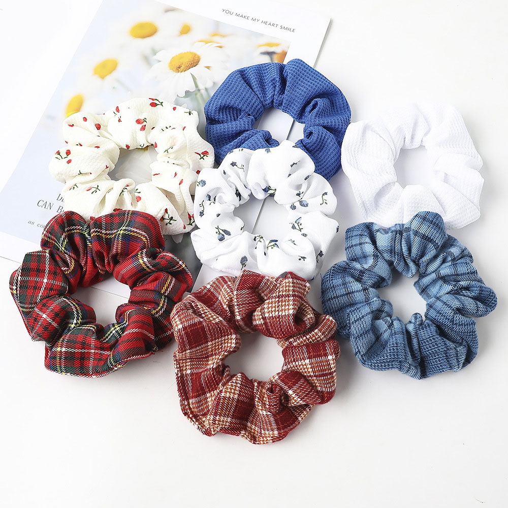 Women Plaid Hair Scrunchies Elastic Fashion Knitted Solid Color Hair Ring Girls Ponytail Holders Scrunchies Hair Accessories