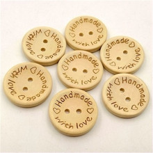 100pcs 15mm round button laser engraving love with love wooden button manual DIY clothing accessories clothes decorative buttons