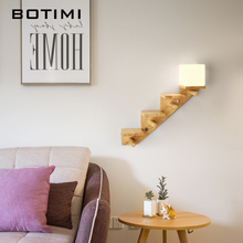 BOTIMI Nordic Solid Wood Wall Lamp with Shelf  For Living Room ART DECO Sconce Glass Lampshde Bedside Lighting