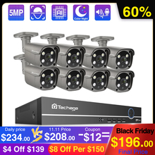 Techage 8CH 5MP POE NVR Sicherheit Kamera System AI Menschlichen Erkennung Zwei weg Audio IP Kamera Im Freien IR CCTV video Überwachung Kit