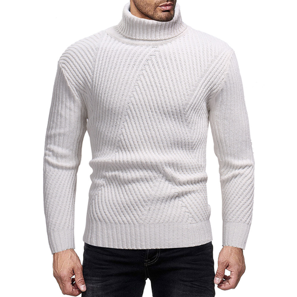 2019 Men's Autumn Winter Pullover, Casual High Collar Thick Warm Solid Color Non-patterned Knit Sweater