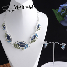 MeiceM Women Silver Plated Necklace Sets Original Design Leaf Necklace And Earrings Female Luxury Necklaces Set for Wedding