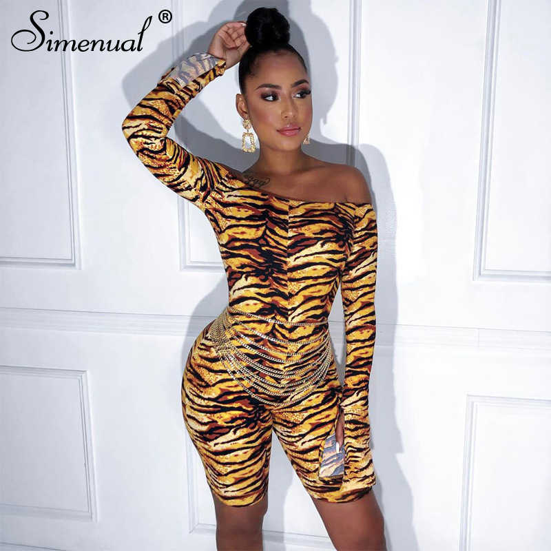 Simenual Tiger Druck Off Schulter Frauen Playsuits Sexy Dünne Lang Flare Hülse Strampler Mode Bodycon Party Biker Overall Hot