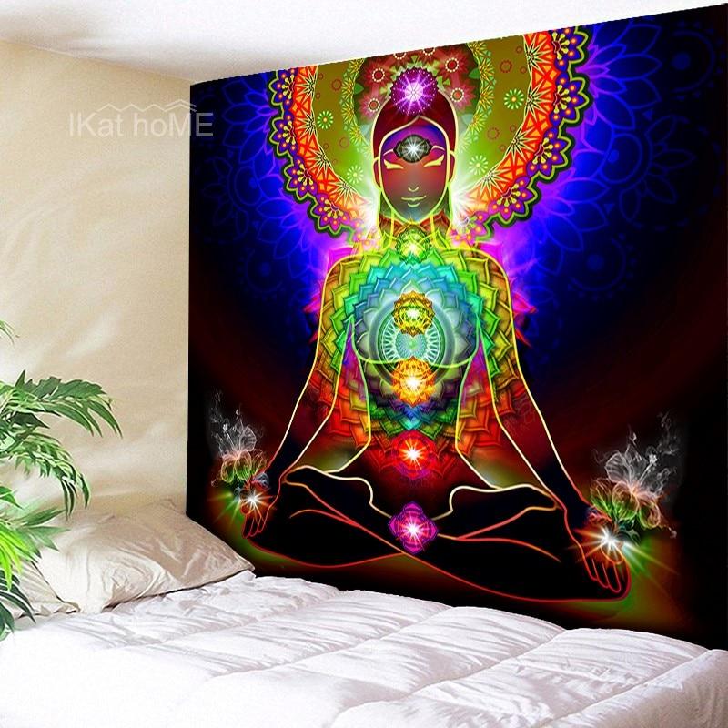 Yoga Meditation Chakra Tapestry Wall Hanging Indian Buddha Mandala Tapestry Wall Cloth Psychedelic Tapestries Multi Color