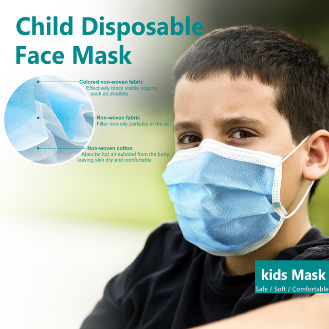 10pcs/50pcs High-quality disposable 3 layers Non-Woven safe mask filter kids mouth mask ear hanging breathable child face masks 5