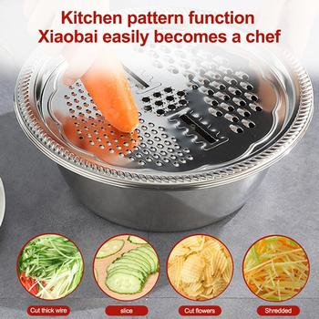 5 in 1 Kitchen Tool Stainless Steel Drain Pot Food Chopper Vegetable Cutter Peeler Hand Held Slicer Grater Kitchen Accessories image