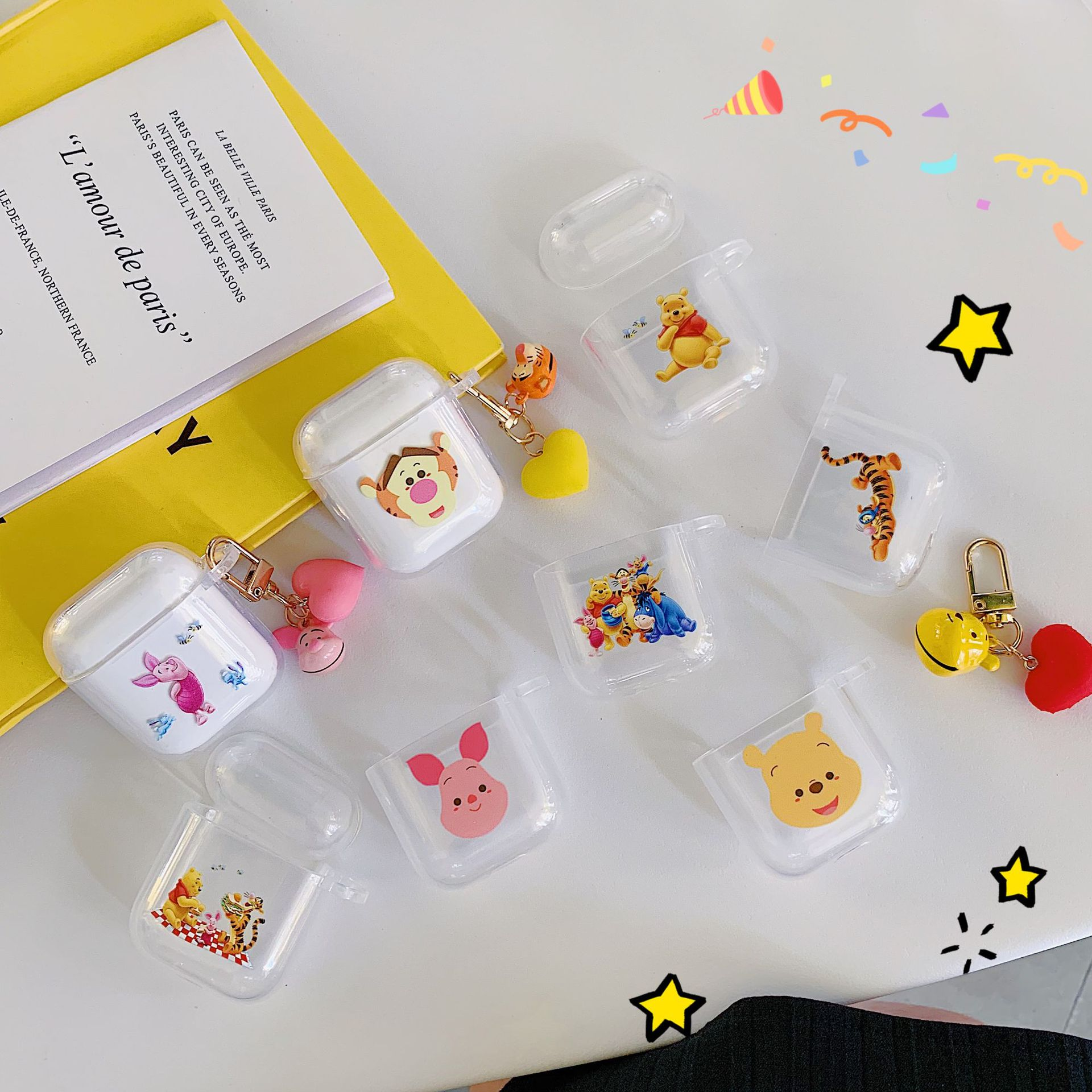 Buy Cute Cartoon Winnie Pooh Bear Piglet Hard Earphone Accessorie Set Hard PC Clear Case For Airpods 1 2 Charging Wireless Bluetooth for only 2.88 USD