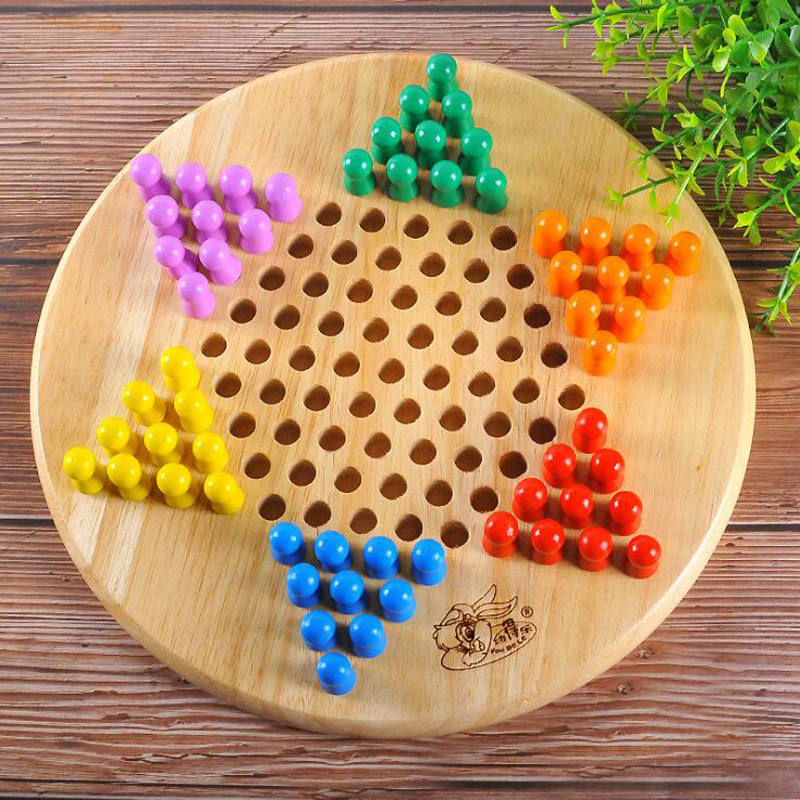 Hot Sale Portable Wooden Chinese children's Checkers Game Puzzle Chess Toys Kids Intelligent Development Education Toys