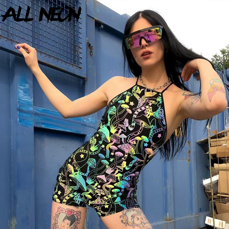 ALLNeon Streetwear Playsuits For Women Colorful Butterfly Printing Halter Backless Overalls E-girl Rompers Combinaison Pantalon