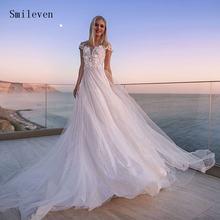 Пляжное свадебное платье smileven ТРАПЕЦИЕВИДНОЕ блестящее Тюлевое