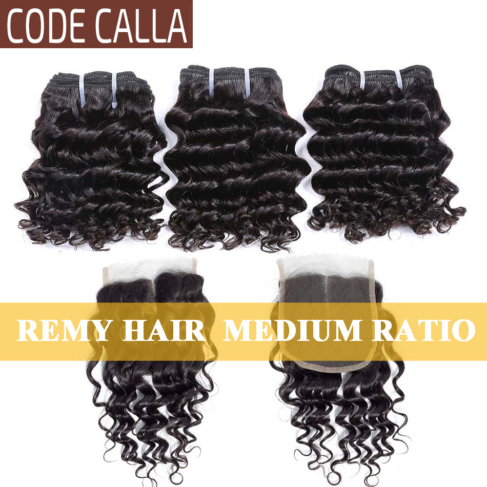 Code Calla Deep Curly Weave Bundles With 4*4 Lace Closure Brazilian Remy Human Hair Extensions Deep Wave With Free Part Closure
