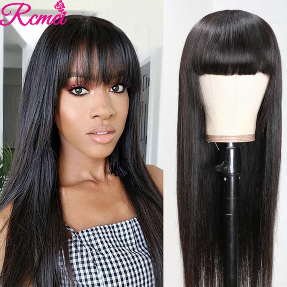 Rcmei Human Hair Wigs With Bangs Brazilian Straight Wig Remy Hair For Women Full Machine Made Wig With Bang 26 Inches