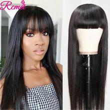 Rcmei Human Hair Wigs With Bangs Brazili