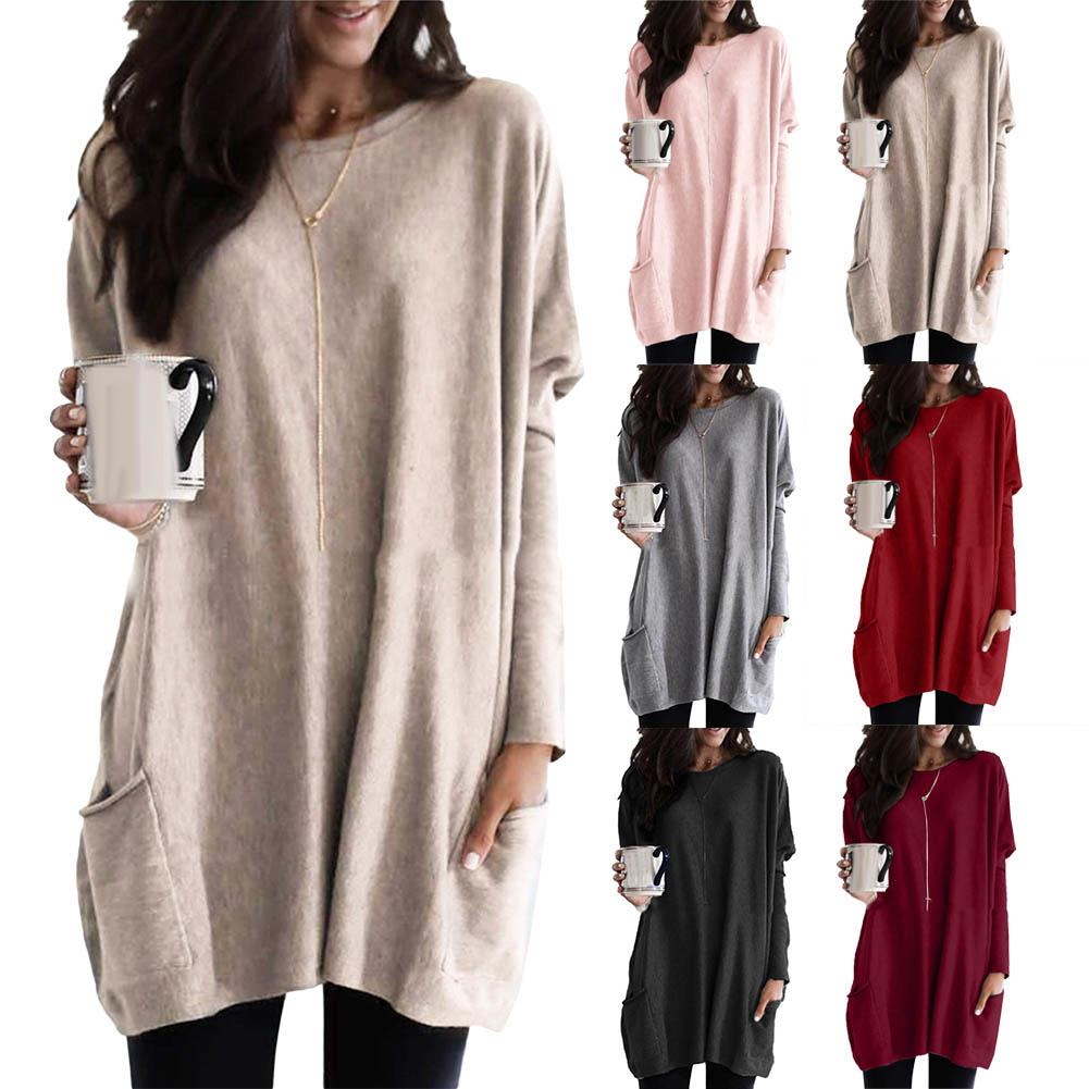 Women Long Sleeve Round Neck Pullover Loose Solid Color Pocketed Tunic Top Casual Loose Nylon/Polyester/Spandex Women Tunic Top