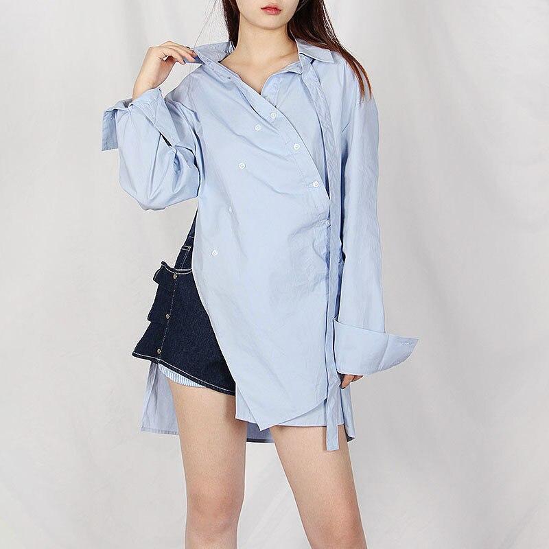 TWOTWINSTYLE Casual Irregular Blouse For Women Lapel Long Sleeve Button Slim Shirts Female Summer Fashion Clothing New 2020 Women Women's Blouses Women's Clothings cb5feb1b7314637725a2e7: Blue|White