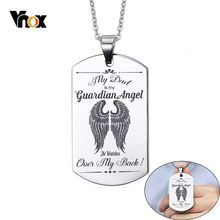 Vnox DAD is My Guardian Angel Stainless Steel Pendant Necklaces Customize Free Engrave Name Love Logo ID Tag Accessory(China)