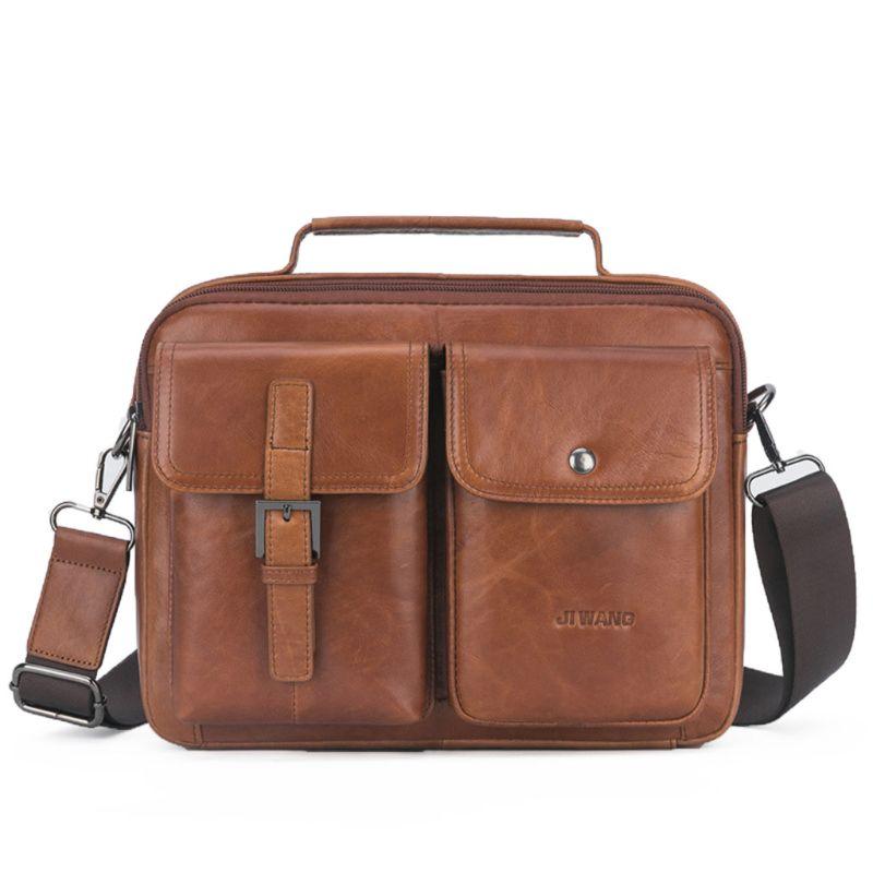 Men's Vintage Leather Briefcase Business Cases Shoulder Messenger Crossbody Bag Handbag A69C