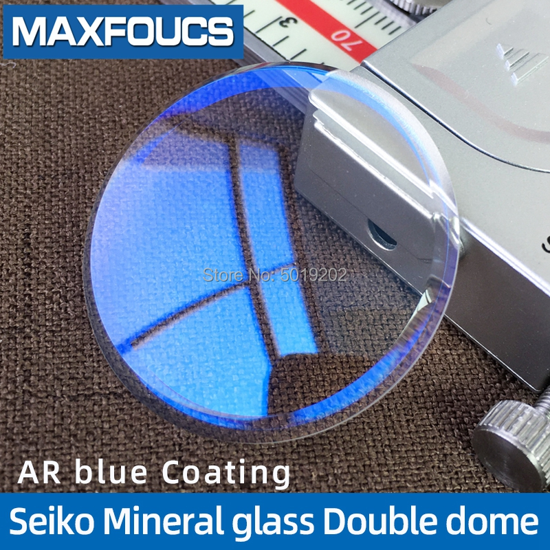 For Seiko Mineral Glass Watch Glass Watch Partl With Blue AR Coating Double Dome 33x3.7x2.3mm ,1 Piecse
