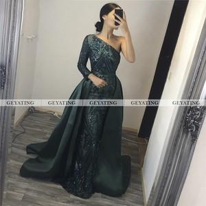 Image 3 - Dubai Emerald Green One Shoulder Evening Dress Detachable Train Long Sleeve Mermaid Arabic Formal Dresses Muslim Long Party Gown