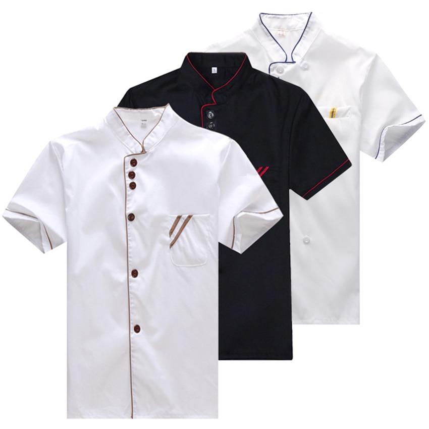 Chef Uniform Work Clothes Men Kitchen Tops Summer Short Sleeve Hotel Restaurant Cook's Shirts Adult Food Service Wear Clothing