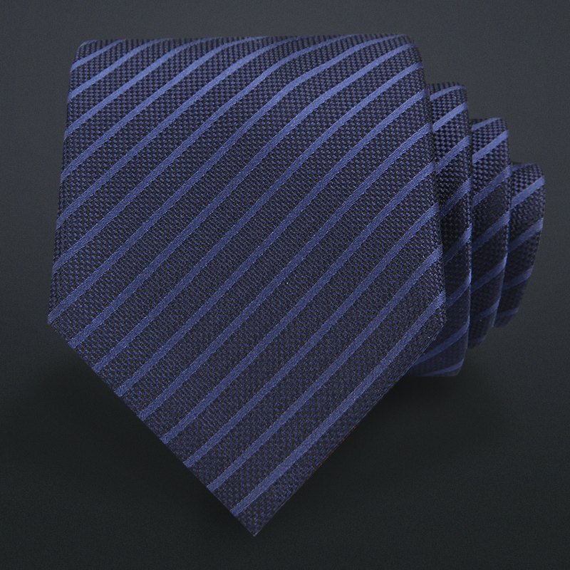 High Quality 2019 New Designers Brands Fashion Business 7cm Slim Ties for Men Silk Deep Blue Striped Necktie Work with Gift Box