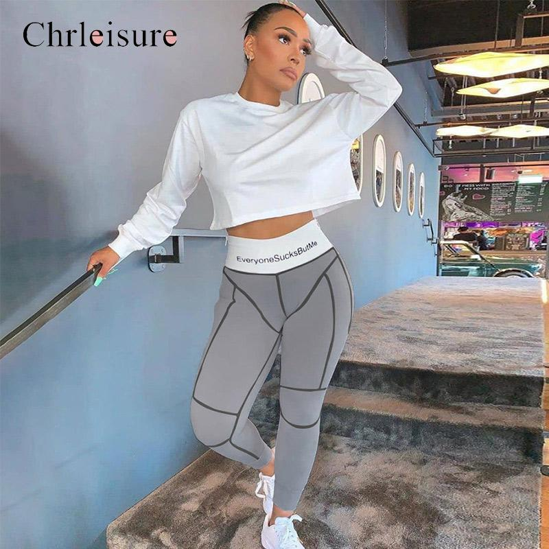Chrleisure Fitness Hight Waist Letter Printing Women's Leggings Casual Traces Push Up Female Trousers Workout Ladies' Leggings