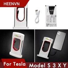 Heenvn Nieuwe Auto Mobiele Lader Voor Tesla Model 3 2021 Model Y S X Mobiele Power Telefoon Smartphone Super Lader accessoires Model3