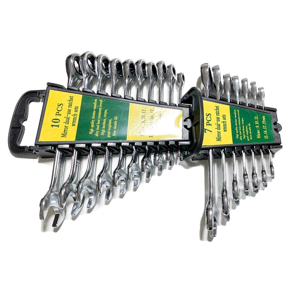 Juego de llaves de 8-19mm, caja de trinquete, llaves de combinación para reparación de coche, herramientas de mano, juego de llaves