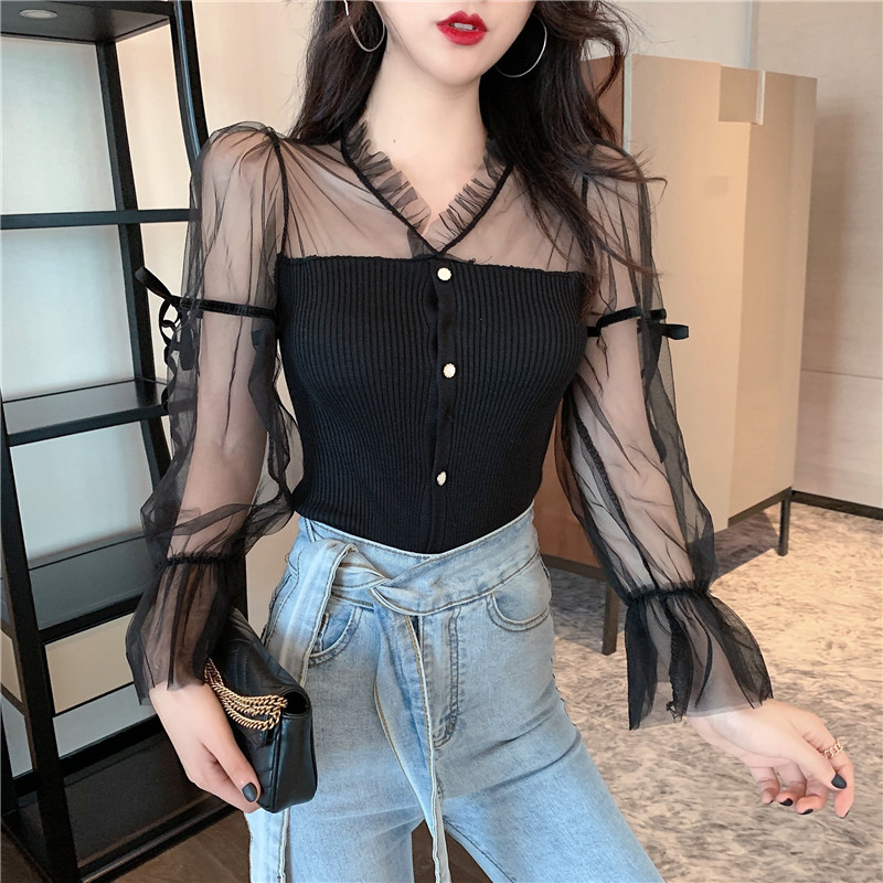 Knitted Patchwork Mesh Sweaters Cardigans Girls Full Sleeve Slim Stretchy Sweater Tops Tees For Woman