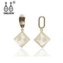 DREJEW Green White Pink Yellow Square Statement Earrings 2019 Geometric Acrylic Drop for Women Fashion Jewelry HE6021