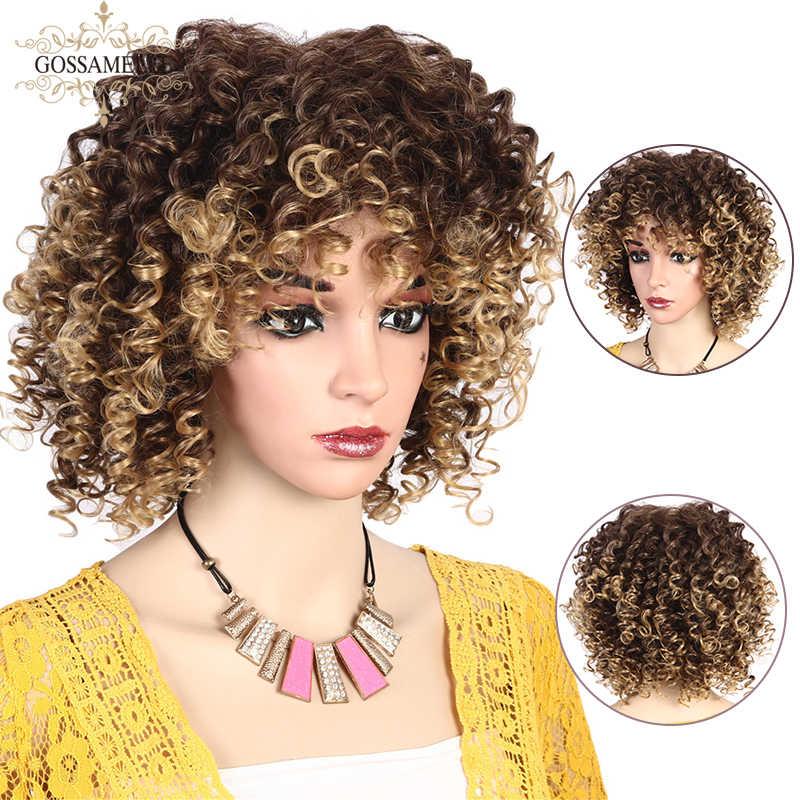 Gossamelle Afro Kinky Krullend Pruik Dark Red Ombre Grijs Blonde Synthetische Pruiken Voor Vrouwen Gemengde Zwarte Korte Pruik Met Pony