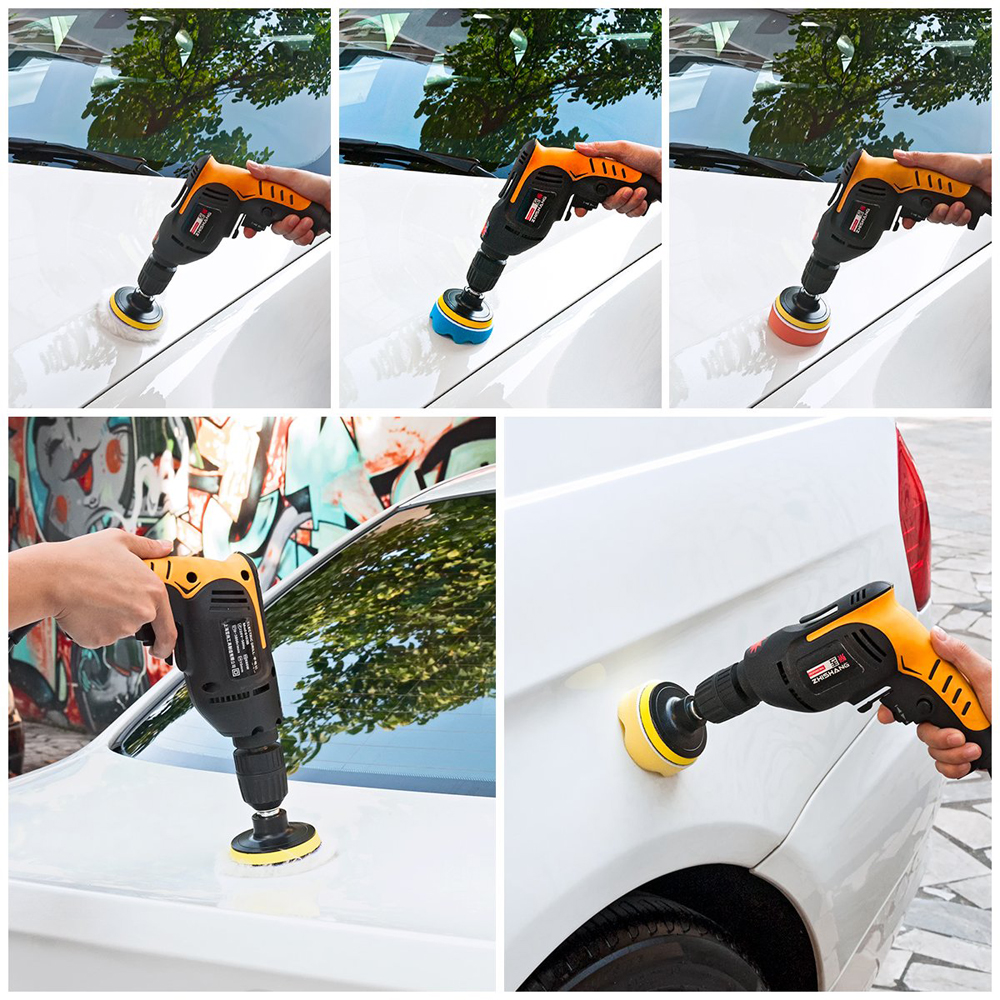 22Pcs Buffing Pad Set Thread 3/4/5/6/ inch Auto Car Polishing pad Kit for Car Polisher + Drill Adaptor M10 M14 Power Tools title=