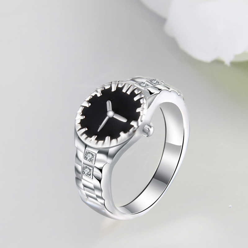 นาฬิกาสไตล์ใหม่แหวน Cubic Zirconia อัญมณี 925 เงินสำหรับชายหญิงแฟชั่นเครื่องประดับสำหรับของขวัญปาร์ตี้ขายส่งแหวน