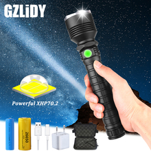 Glare XHP70.2 LED Flashlight USB Charging Waterproof Tactical Torch Zoomable 5 Mode Outdoor Light Using 18650 or 26650 Battery