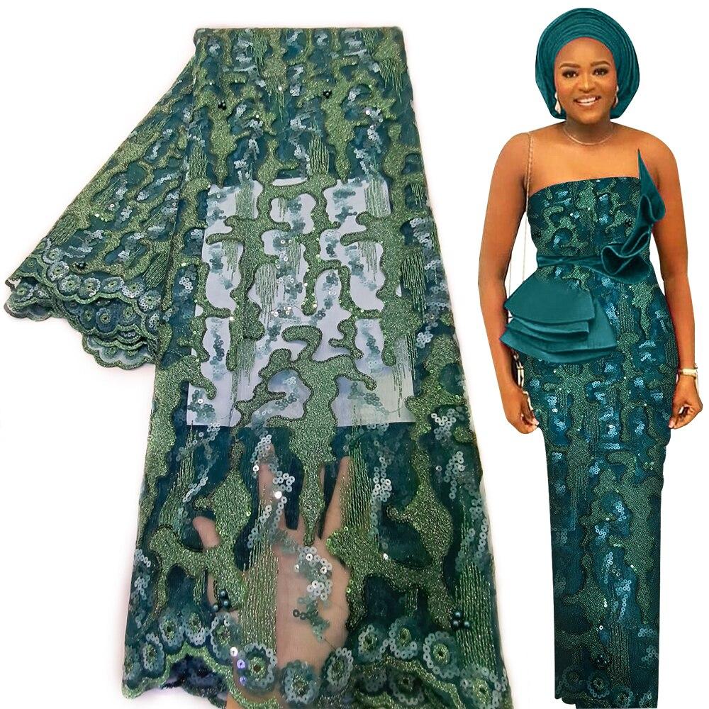 Африканская кружевная ткань Bestway 2021, 5 ярдов, Высококачественная вышивка блестками, нигерийский материал для свадебного платья, французская...