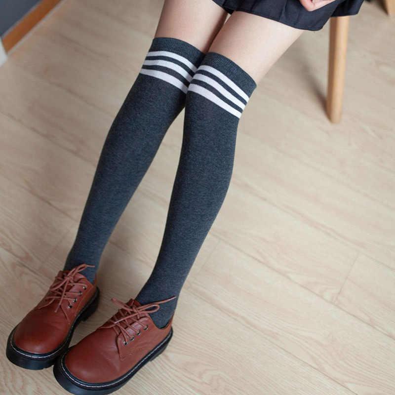 Frauen Hoch Über Den Knie Socken Oberschenkel Hohe Strümpfe Harajuku Japanischen Schule Student Streifen Lange Socken Für Mädchen Damen Frauen
