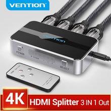 Vention hdmi divisor 3 entrada 1 saída 4k/60hz switcher para xbox 360 ps4 caixa inteligente android portátil hdmi switch 3 em 1 para fora 5x1