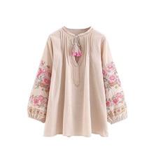 CoshiMunasi Boho Shirts Women Summer Beach Tops Vintage Floral Embroidery Tassel Blouses Fashion Shirts Loose Womens Clothing