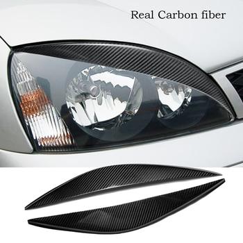 Real Carbon Fiber Headlight Eyebtrow Eyelid Cover For Ford Fiesta MK6 2002-2005