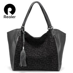 REALER lazer bolsas femininas feminino genuíno bolsas de couro senhoras grandes sacos de ombro capacidade mensageiro saco com tassel 2019