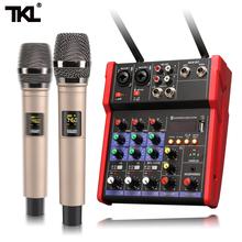 TKL mikser Audio UHF mikrofon Bluetooth Audio mikser Audio USB DJ konsola miksująca dźwięk 4 kanałowy 48V zasilanie Phantom tanie tanio Mixers Procesory efektów