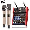 Tkl áudio mixer uhf microfone bluetooth áudio mixer usb dj som mixagem console 4 canal 48 v phantom power