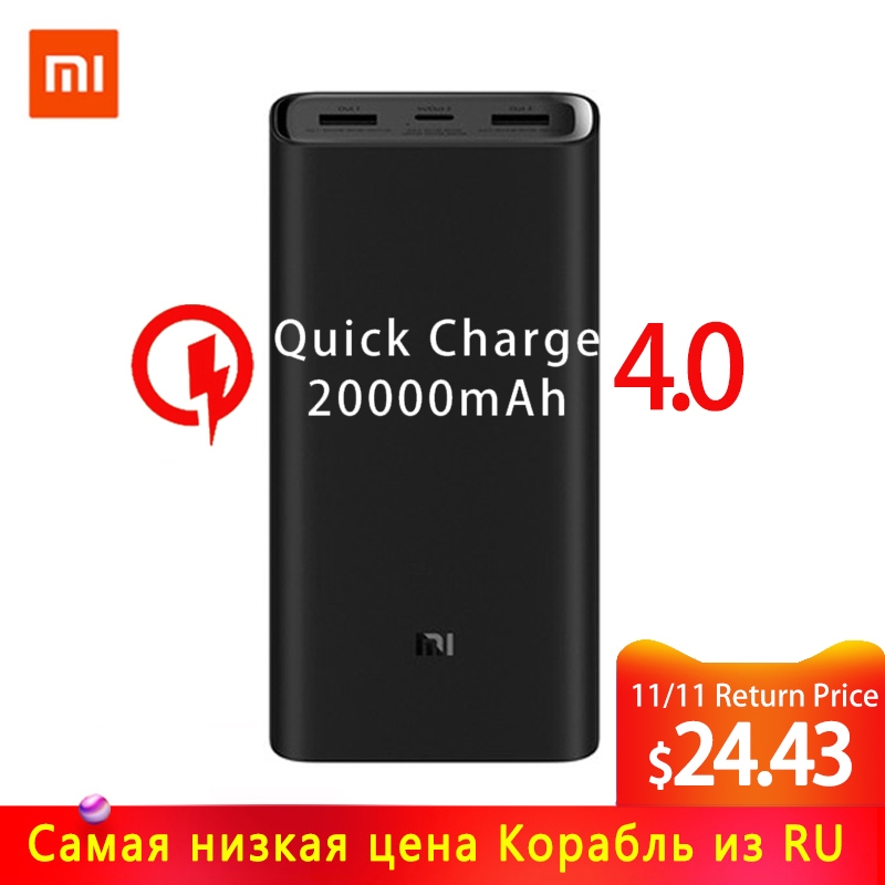 2019 NEW Xiaomi Power Bank 3 20000mAh Mi Powerbank USB-C 45W Portable Charger Dual USB Powerbank For Laptop Smartphone PLM07ZM