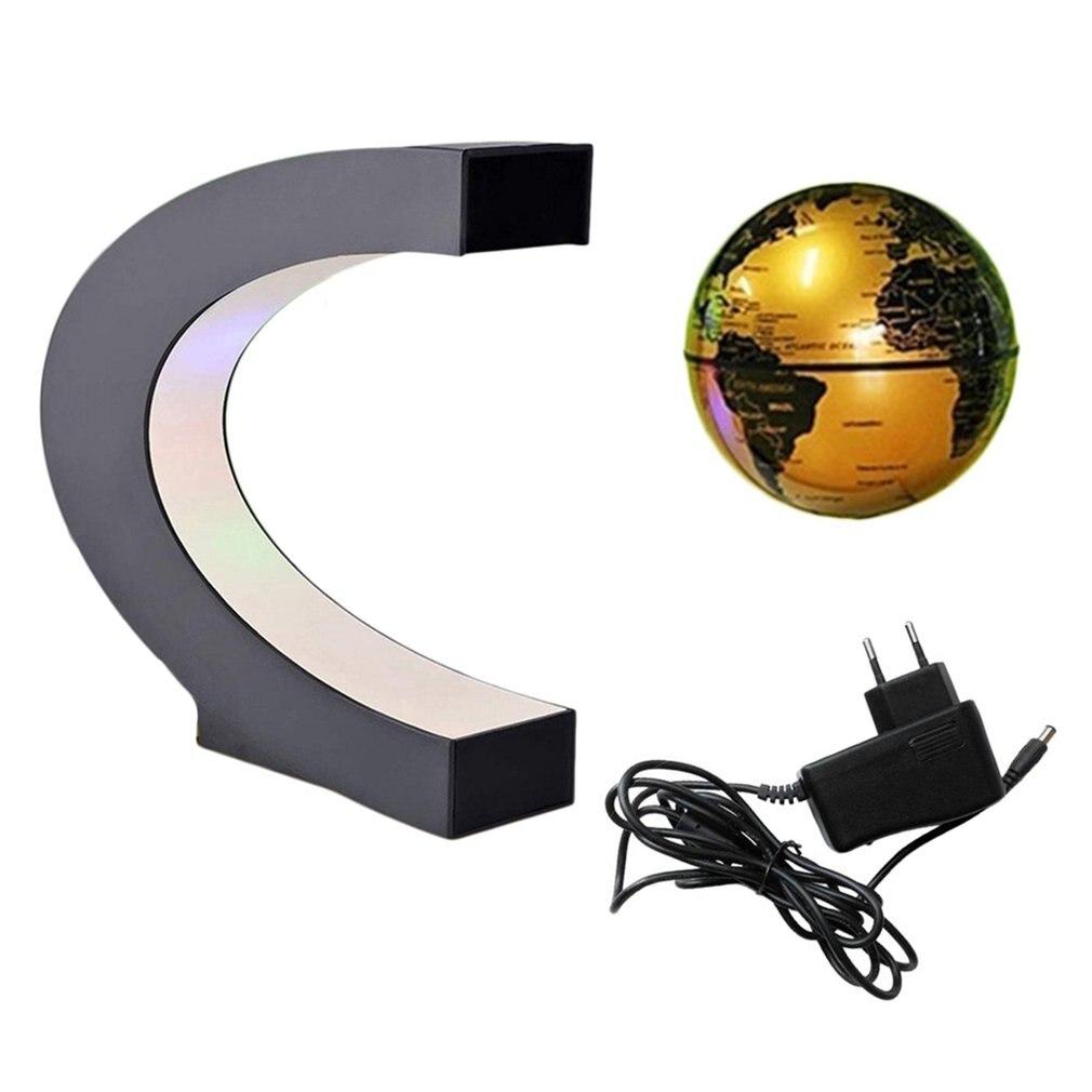 C Shape  LED World Map Decor Black Blue Home Electronic Magnetic Levitation Floating Globe Antigravity LED Light Gift Decoration