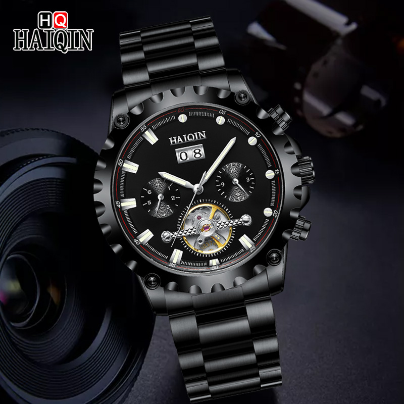 HAIQIN Mens Mechanical Watch Top Luxury Brand All Steel Automatic Men Watches Business Tourbillon Sports Clock Relogio Masculino