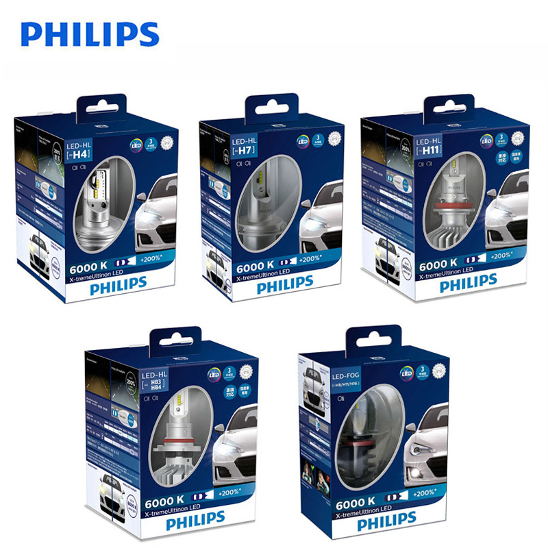 <font><b>Philips</b></font> X-treme Ultinon <font><b>LED</b></font> H4 <font><b>H7</b></font> H11 HB2 HB3 HB4 9003 9005 9006 6000K +200% More Bright Car <font><b>Headlight</b></font> H8 H11 H16 Fog Lamp,2X image